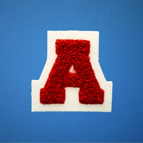 "SMALL Varsity Letter Chenille Felt Patch 2"" Red/ White"