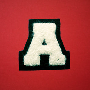 "SMALL Varsity Letter Chenille Felt Patch 2"" White/ Black"