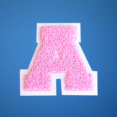 "MEDIUM Varsity Letter Chenille Felt Patch 3.5"" Pink/ White"