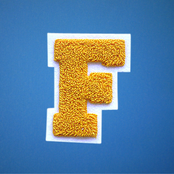 "MEDIUM Varsity Letter Chenille Felt Patch 3.5"" Yellow Gold/ White"