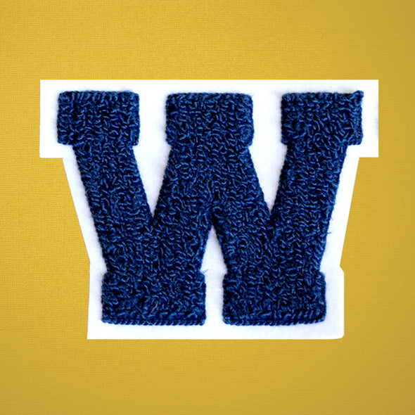 "MEDIUM Varsity Letter Chenille Felt Patch 3.5"" Navy/ White"