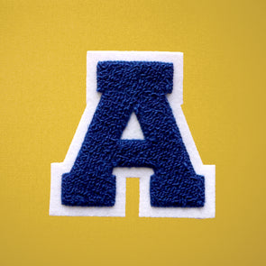 "MEDIUM Varsity Letter Chenille Felt Patch 3.5"" Royal Blue/ White"
