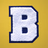 "LARGE Varsity Letter Chenille Felt Patch 4.5"" White/ Navy"