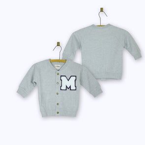 Personalized Baby Varsity Jacket GREY + WHITE Letter