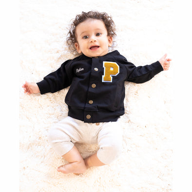 Personalized Baby Varsity Jacket BLACK + YELLOW GOLD/WHITE Letter