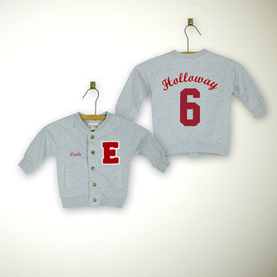 Personalized Baby Varsity Jacket GREY + RED Letter