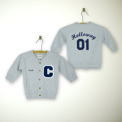 Personalized Baby Varsity Jacket GREY + NAVY Letter