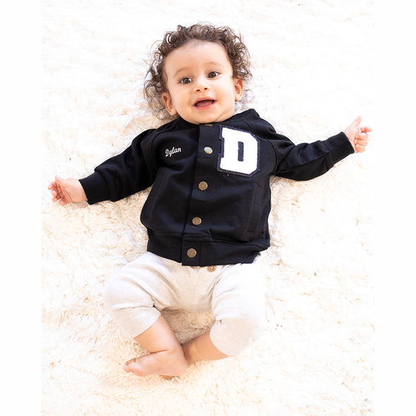 Baby Personalized Varsity Letterman Jacket BLACK + White Chenille/Black Felt Letter Patch + White Script Embroidery (OPTIONAL)