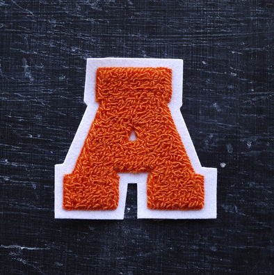 "MEDIUM Varsity Letter Chenille Felt Patch 3.5"" Orange/ White"