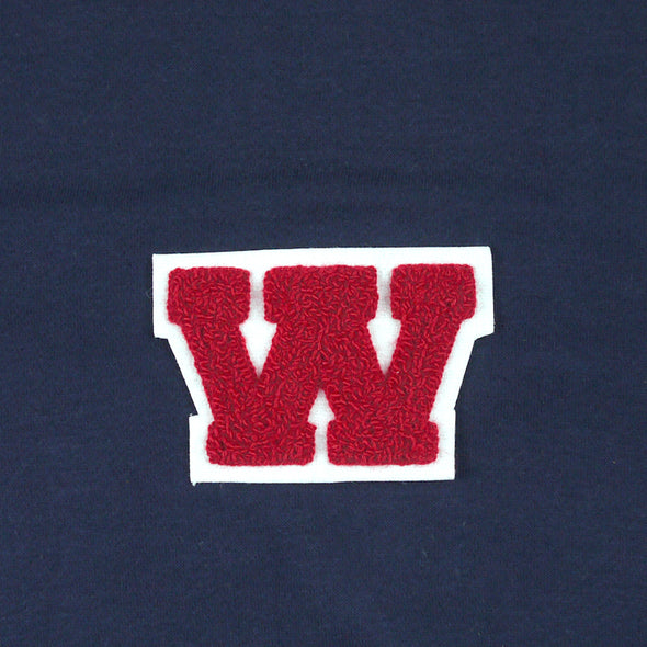 "Varsity Letter Patch, 4.5"" Full Block font. RED/WHITE"
