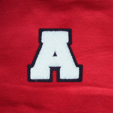 "Varsity Letter Patch, 4.5"" Full Block font. WHITE/BLACK"