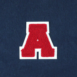 "Varsity Letter Patch, 3.5"" Full Block font. RED/WHITE"