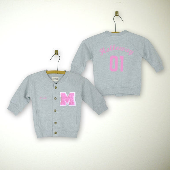 Baby Personalized Varsity Letterman Jacket GREY + Soft Pink Chenille/White Felt Letter Patch + Pink Script Embroidery (OPTIONAL)