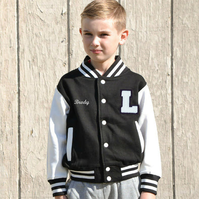 Personalized Kids Varsity Jacket BLACK/WHITE, White Chenille/Felt Letter Patch + Script Embroidery (OPTIONAL)