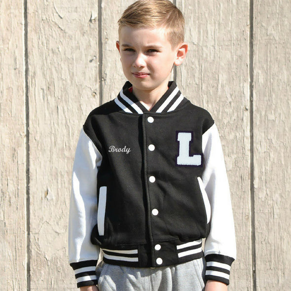 Youth Personalized Varsity Jacket BLACK/WHITE, White Chenille/Black Felt Letter Patch + White Script Embroidery (OPTIONAL)
