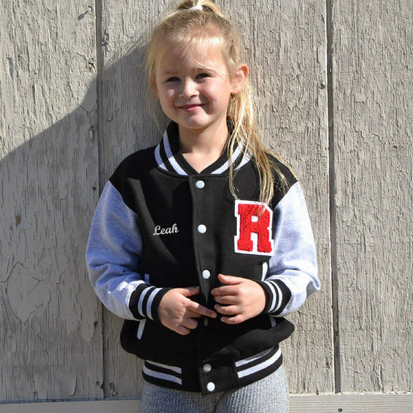 Personalized Kids Varsity Jacket BLACK/GRAY, Chenille/Felt Letter Patch + Script Embroidery (OPTIONAL)