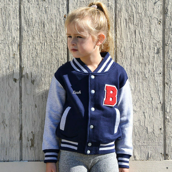 Youth Personalized Varsity Jacket NAVY/GREY, Red Chenille/White Felt Letter Patch + White Script Embroidery (OPTIONAL)