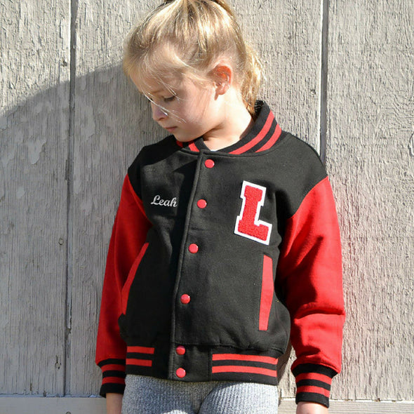 Personalized Kids Varsity Jacket BLACK/RED, Chenille/Felt Letter Patch + Script Embroidery (OPTIONAL)