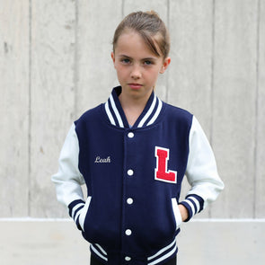 Personalized Kids Varsity Jacket NAVY/WHITE + RED Letter