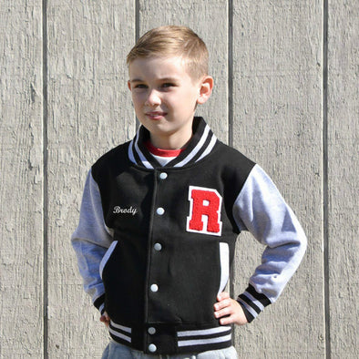 Youth Personalized Varsity Jacket BLACK/GRAY, Red Chenille/White Felt Letter Patch + White Script Embroidery (OPTIONAL)