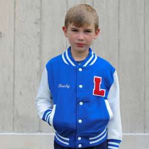 Personalized Kids Varsity Jacket ROYAL BLUE/WHITE + RED Letter
