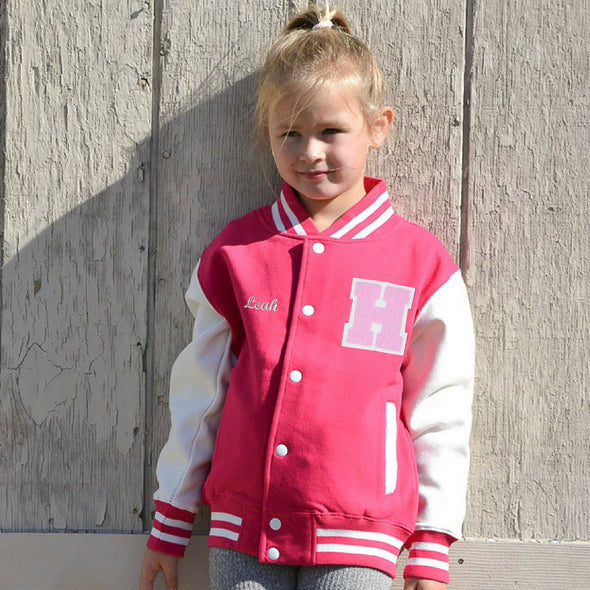 Personalized Kids Varsity Jacket PINK/WHITE, Soft Pink Chenille/Felt Letter Patch + Script Embroidery (OPTIONAL)