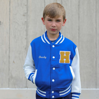 Personalized Kids Varsity Jacket ROYAL BLUE/WHITE + YELLOW GOLD Letter
