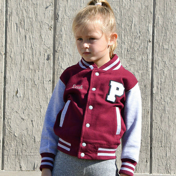 Youth Personalized Varsity Jacket BURGUNDY/GRAY, White Chenille/Black Felt Letter Patch + White Script Embroidery (OPTIONAL)