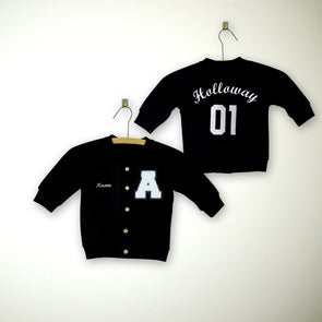 Personalized Baby Varsity Letterman Jacket BLACK + White Chenille/Black Felt Letter Patch + White Embroidery (OPTIONAL)