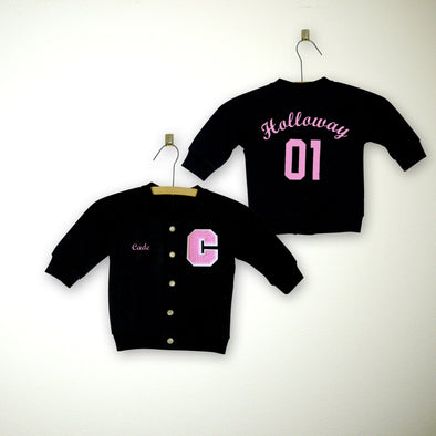 Personalized Baby Varsity Letterman Jacket BLACK + Soft Pink Chenille/White Felt Letter Patch + Soft Pink Embroidery (OPTIONAL)