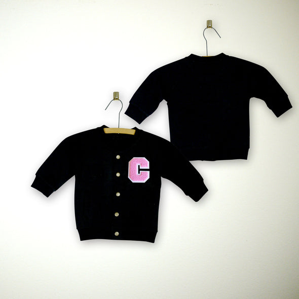 Baby Personalized Varsity Letterman Jacket BLACK + Soft Pink Chenille/White Felt Letter Patch + Pink Script Embroidery (OPTIONAL)