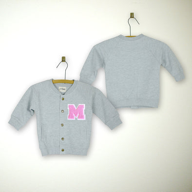 Personalized Baby Varsity Jacket GREY + SOFT PINK Letter