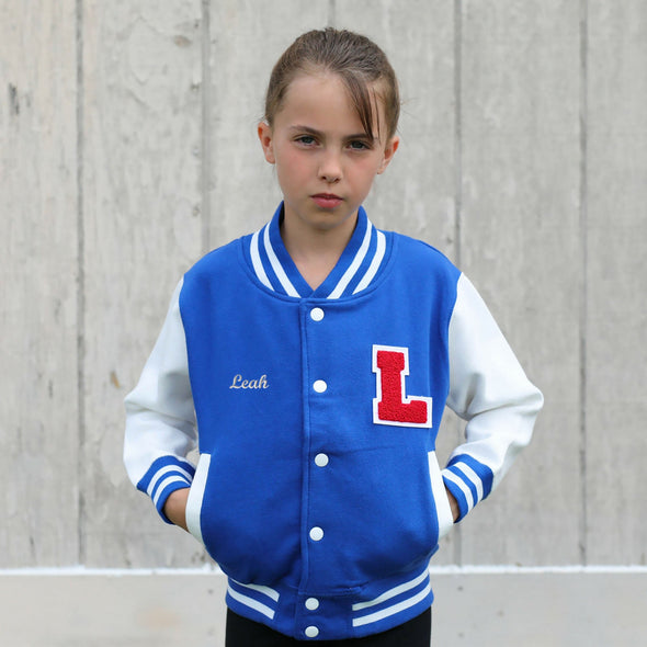 Youth Personalized Varsity Jacket Royal BLUE/WHITE, Red Chenille/White Felt Letter Patch + White Script Embroidery (OPTIONAL)