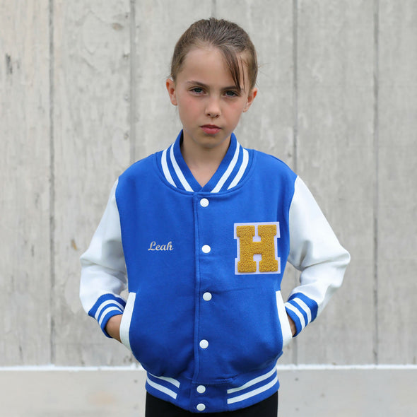 Personalized Kids Varsity Jacket Royal BLUE/WHITE, Yellow Gold Chenille/White Felt Letter Patch + White Script Embroidery (OPTIONAL)