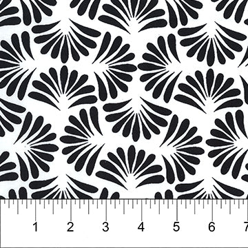 Classics - Opal - Black Fans on White ($12/yd)