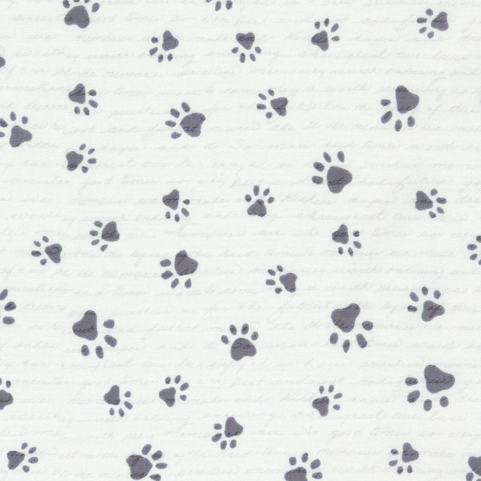 Cotton Paw Prints- Stone ($9/yd)