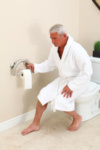 2-IN-1 GRAB BAR TOILET PAPER HOLDER WGRIPS & HOLLOW WALL ANCHORS