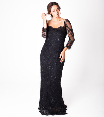 Beaded Fine Lace Gown - Lala Belle The Label Women's Plus Size Dresses & Clothing Australia