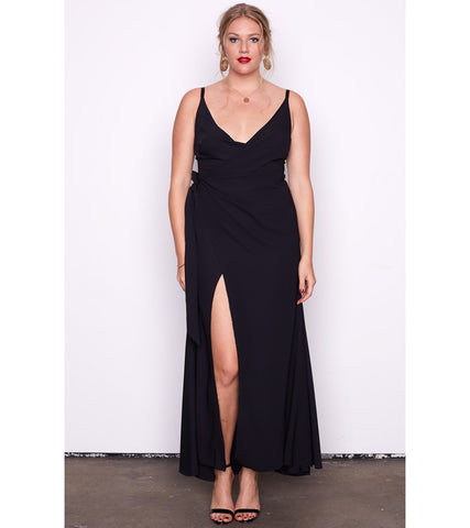 Black V Neck Split Gown - Lala Belle The Label Women's Plus Size Dresses & Clothing Australia