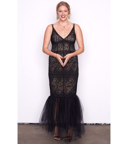 Nude Stretch Lace & Tulle Gown - Lala Belle The Label Women's Plus Size Dresses & Clothing Australia