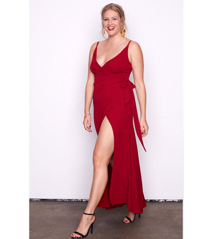 Rouge V Neck Split Gown - Lala Belle The Label Women's Plus Size Dresses & Clothing Australia