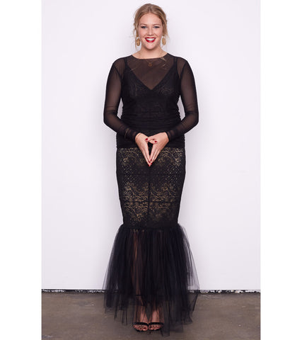 Sleeved Nude Stretch Lace & Tulle Gown - Lala Belle The Label Women's Plus Size Dresses & Clothing Australia