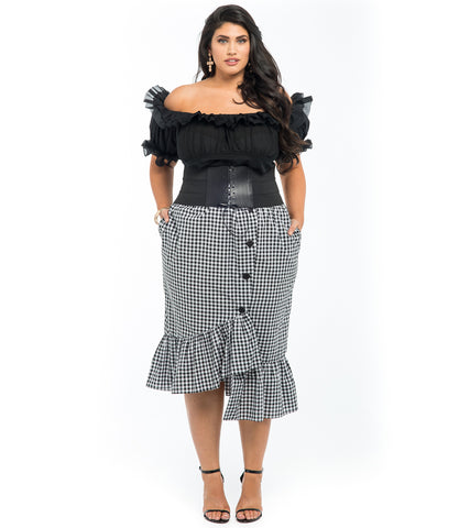 Gingham Print Resort Skirt