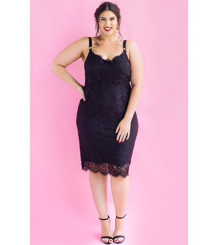 Black Scalloped Lace Bra Dress - Lala Belle The Label Women's Plus Size Dresses & Clothing Australia