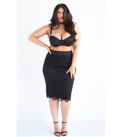 Black Scalloped Lace Skirt - Lala Belle The Label Women's Plus Size Dresses & Clothing Australia