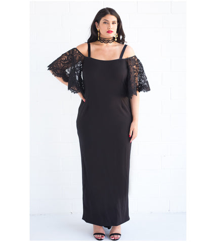 Décolletage Stretch Lace Gown - Lala Belle The Label Women's Plus Size Dresses & Clothing Australia
