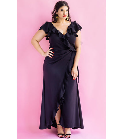 Black Flounce Wrap Gown - Lala Belle The Label Women's Plus Size Dresses & Clothing Australia