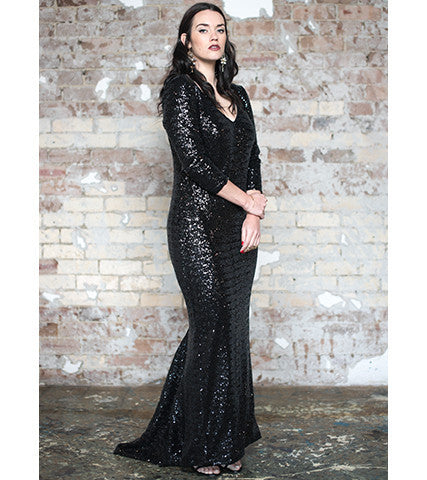 Black Sequin Gown - Lala Belle The Label Women's Plus Size Dresses & Clothing Australia