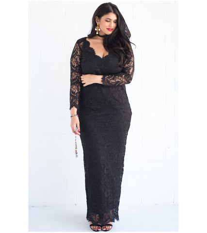 V Neck Scalloped Lace Gown - Lala Belle The Label Women's Plus Size Dresses & Clothing Australia