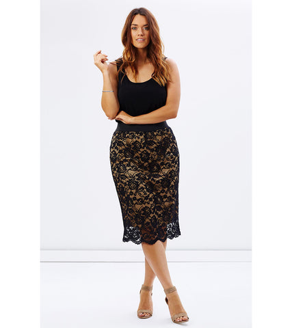 Nude Scalloped Lace Skirt - Lala Belle The Label Women's Plus Size Dresses & Clothing Australia